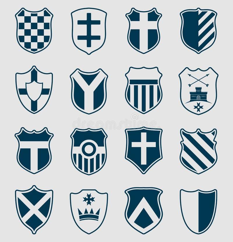 套蓝色纹章学盾 皇族释放例证