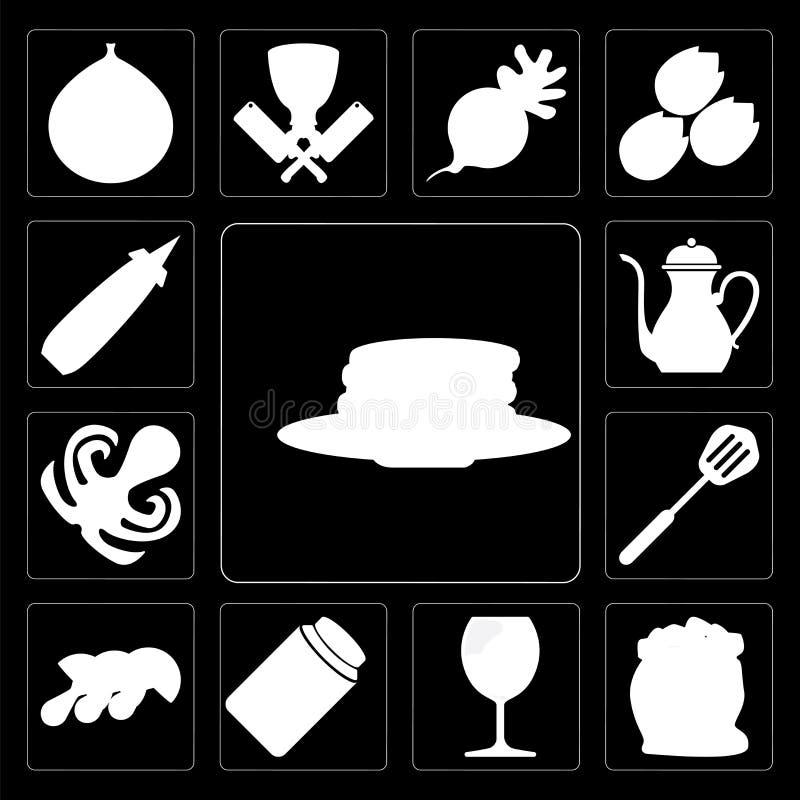 套薄煎饼,面粉,玻璃,蜂蜜,蘑菇,小铲, Octopu 皇族释放例证