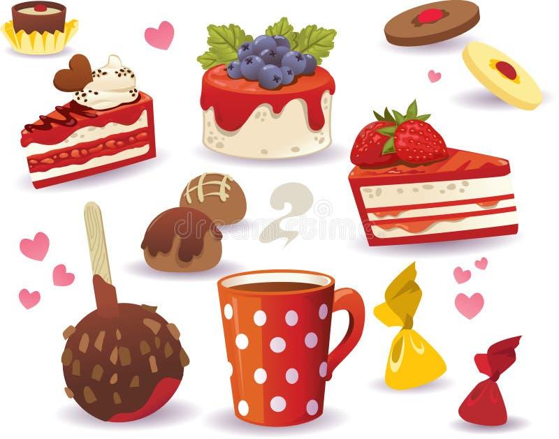 套蛋糕和其他甜食物,隔绝在白色背景 皇族释放例证