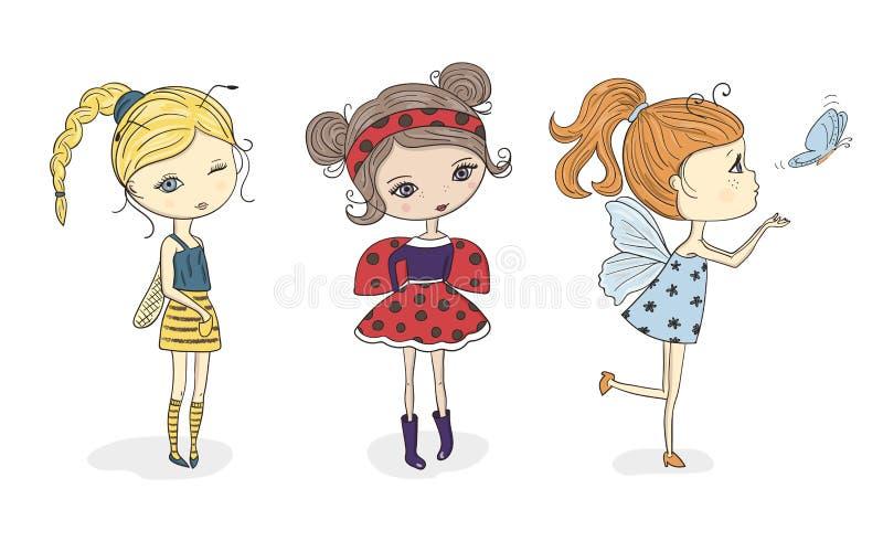 套蜂、瓢虫和蝴蝶服装的逗人喜爱的动画片女孩 向量例证