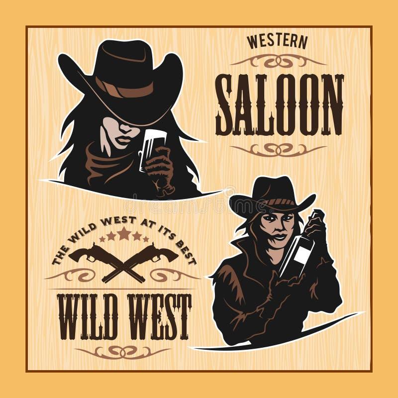 套行家葡萄酒标签,略写法,您的事务的徽章 狂放的西部题材 库存例证