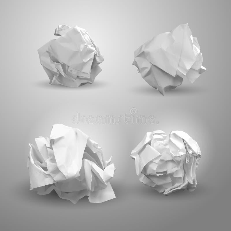 套被弄皱的纸球 对企业概念、横幅,网站和其他 被弄皱的纸是在群策群力以后 传染媒介illus 库存例证