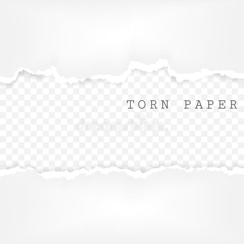 套被撕毁的纸条纹 与在透明背景隔绝的损坏的边缘的纸纹理 也corel凹道例证向量 皇族释放例证