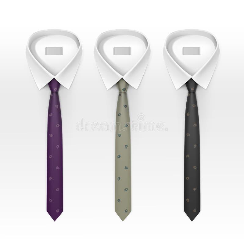 套被栓的镶边色的丝绸和蝶形领结传染媒介 库存例证