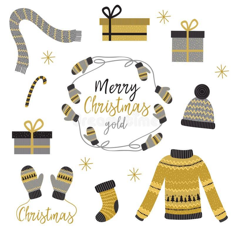 套被隔绝的圣诞节金衣裳和礼物 皇族释放例证