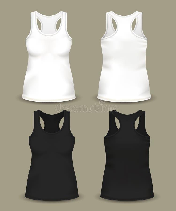 套被隔绝的妇女无袖的上面或T恤杉 向量例证
