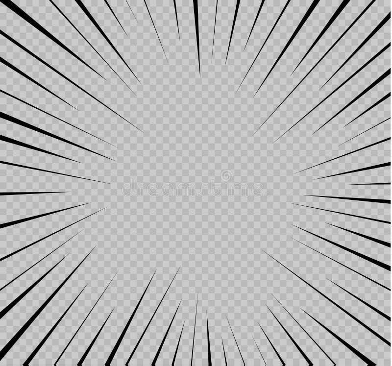 套被隔绝的速度线 运动的作用对您的设计的 在透明背景的黑线 飞行 皇族释放例证