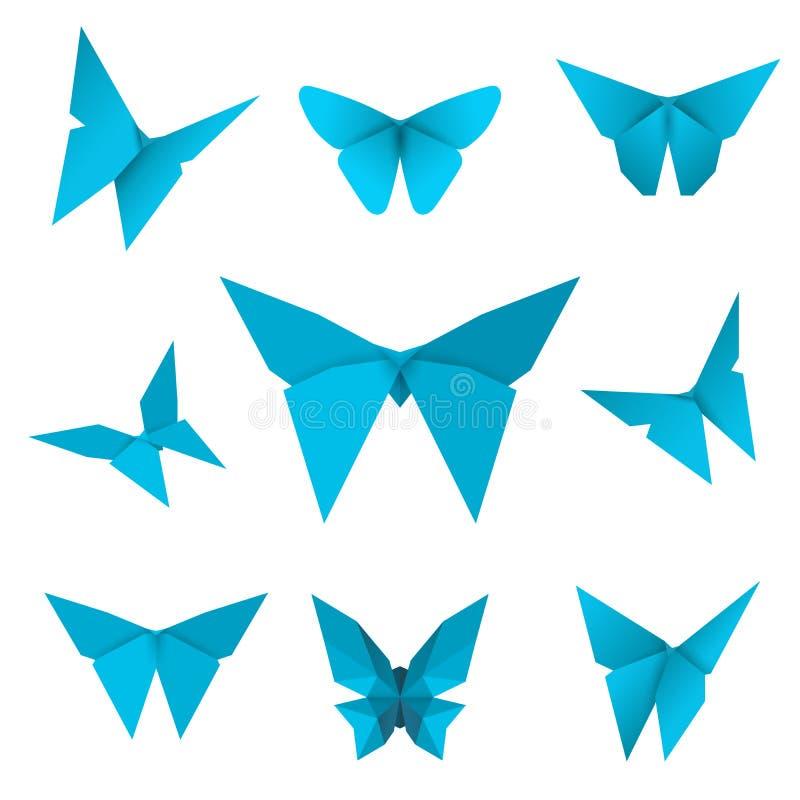 套被隔绝的飞行的纸蝴蝶 在白色背景的蓝色蝴蝶 日本origami、工艺和纸样式 向量例证