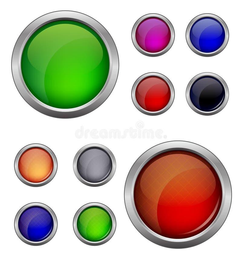 套被隔绝的传染媒介,光滑的网按钮 美丽的互联网按钮 倒空在白色背景 皇族释放例证