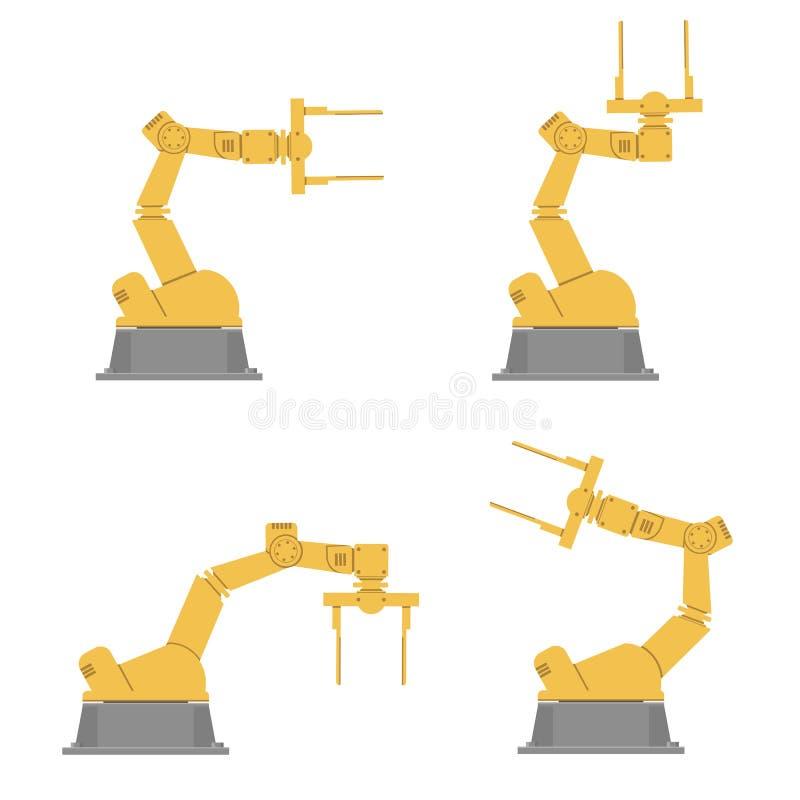 套被隔绝的机器人手 使用机器人胳膊的汇编 工业技术和工厂 皇族释放例证