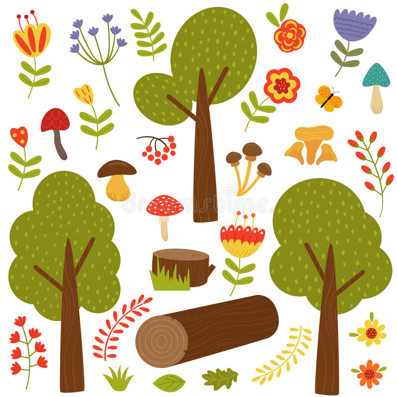 套被隔绝的树和植物 库存例证