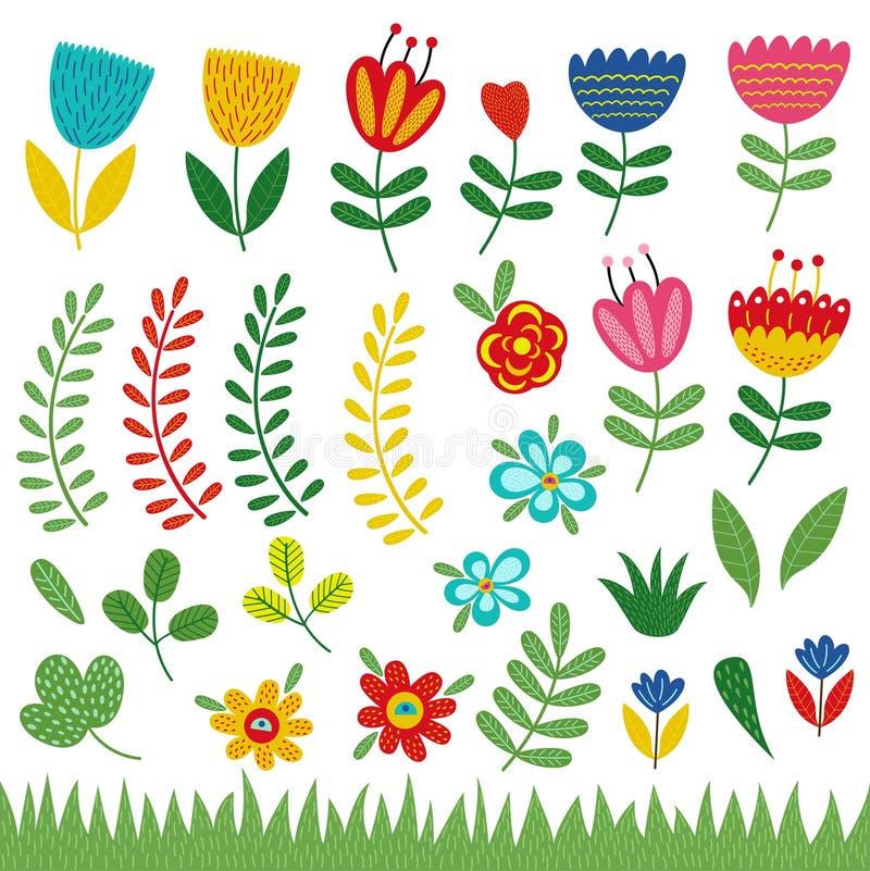 套被隔绝的花和植物 库存例证