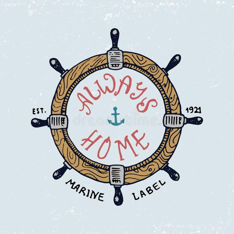 套被刻记的葡萄酒、手拉,老,标签或者徽章方向盘的 海洋和船舶或者海,海洋象征 皇族释放例证