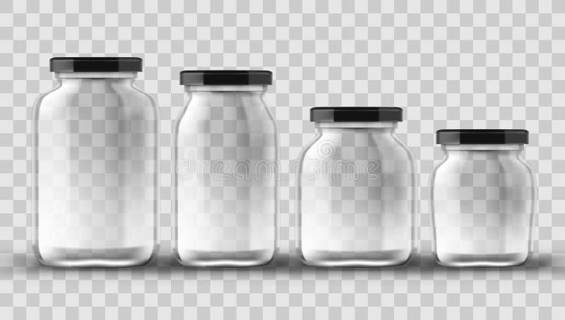 套装于罐中和保存的玻璃瓶子在透明背景 皇族释放例证