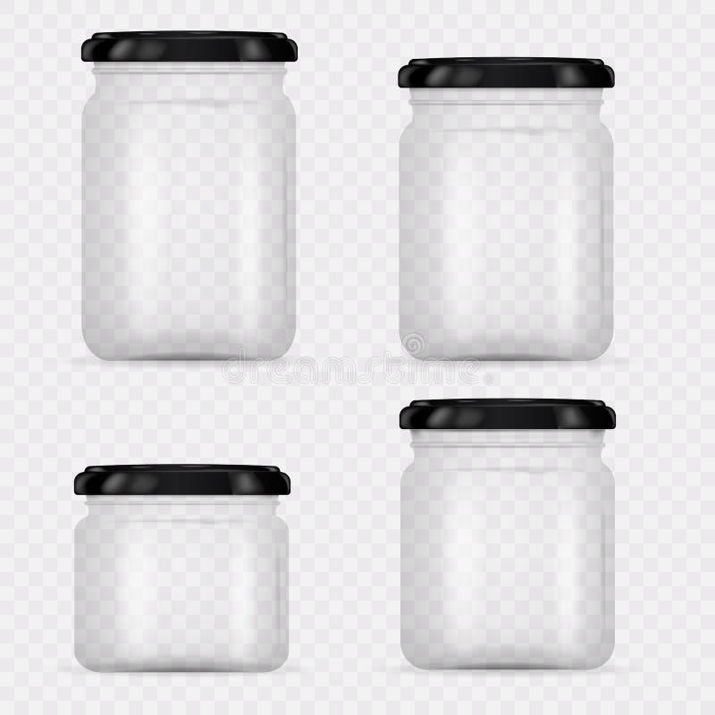 套装于罐中和保存的玻璃瓶子 皇族释放例证