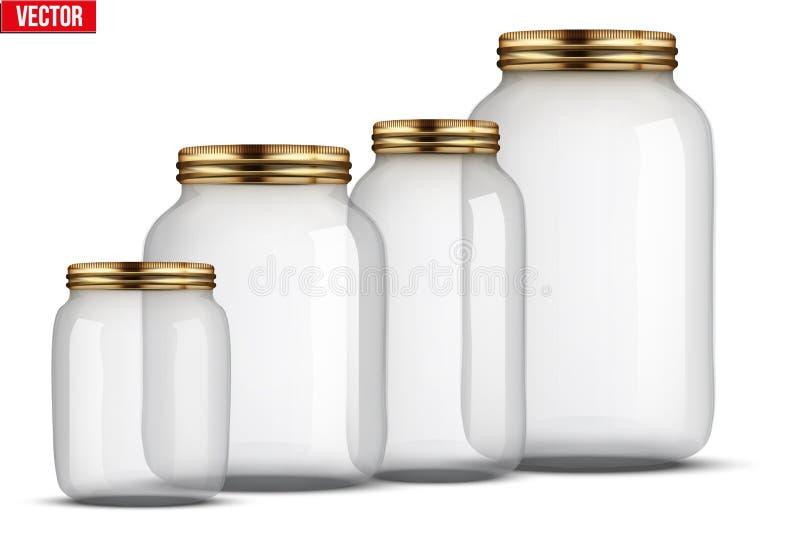 套装于罐中的玻璃瓶子 库存例证