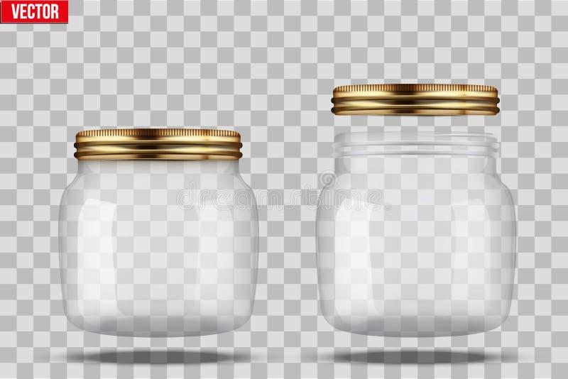 套装于罐中的玻璃瓶子 皇族释放例证