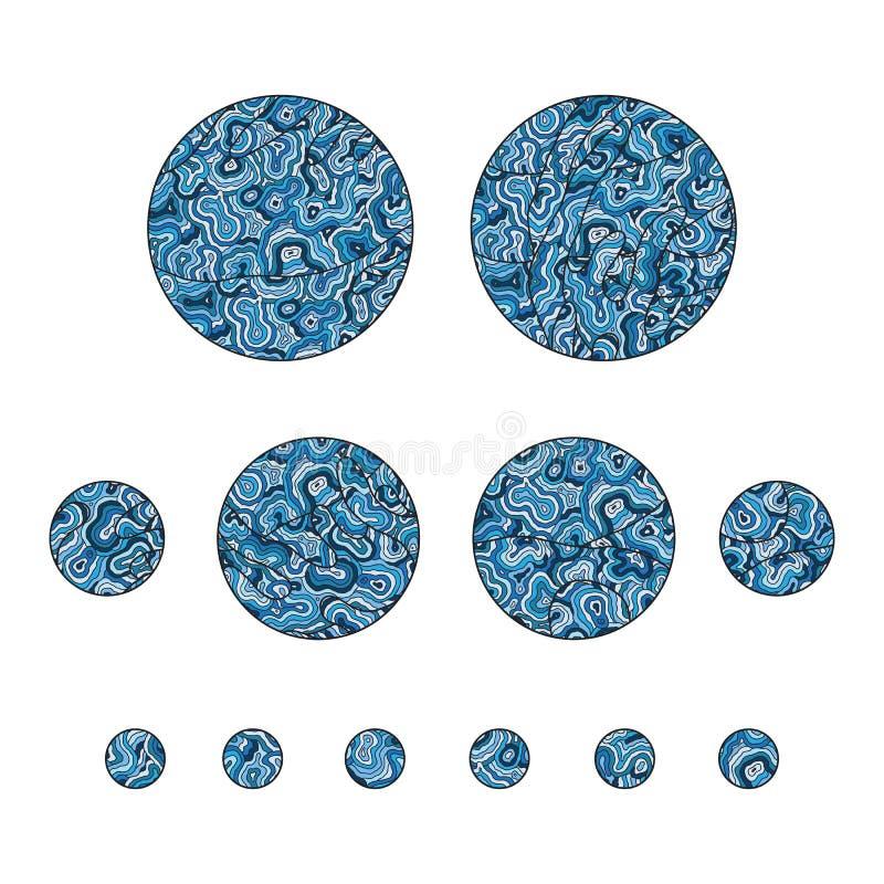 套装饰手拉的zentangle覆盖传染媒介illustratio 库存例证