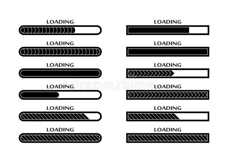 套装货,上载,下载状态栏 向量例证