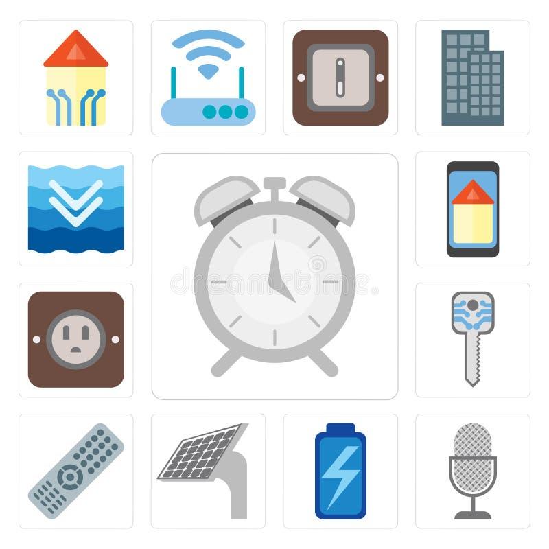 套警报,声音控制,电池,盘区,遥控,聪明的钥匙, 皇族释放例证