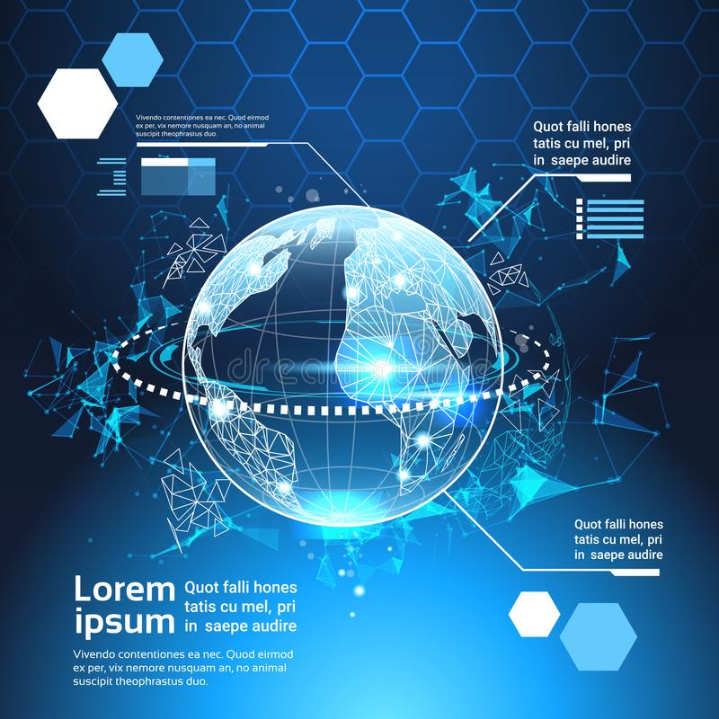 套计算机未来派Infographic元素世界地球技术摘要背景模板图和图表,横幅 库存例证