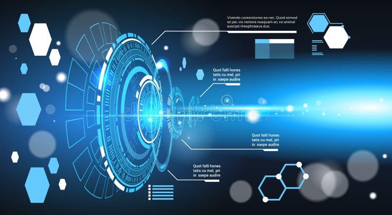 套计算机未来派Infographic元素技术摘要背景模板图和图表,与拷贝的横幅 向量例证