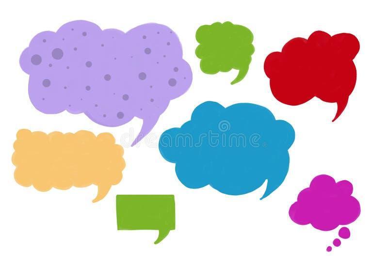 套讲话箱子,交谈或者社会媒介设计在乐趣明亮的颜色的元素 向量例证
