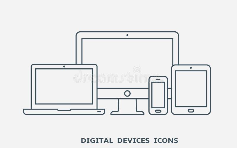 套设备象 显示器、膝上型计算机、片剂个人计算机和巧妙的电话 库存例证