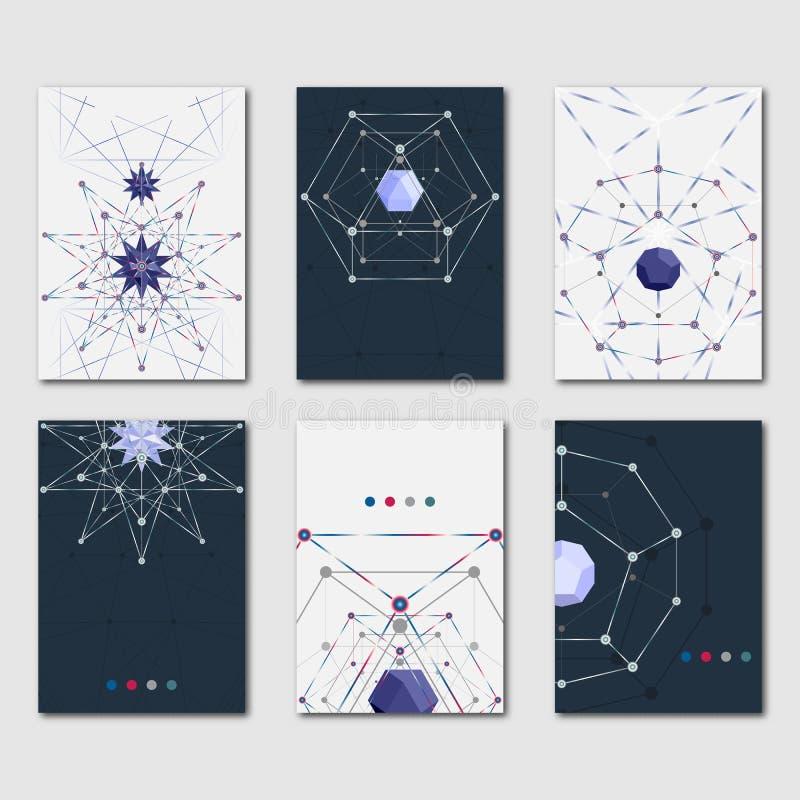 套设计事务的抽象多角形模板和科学小册子、飞行物和介绍 现代时髦的图表 库存例证