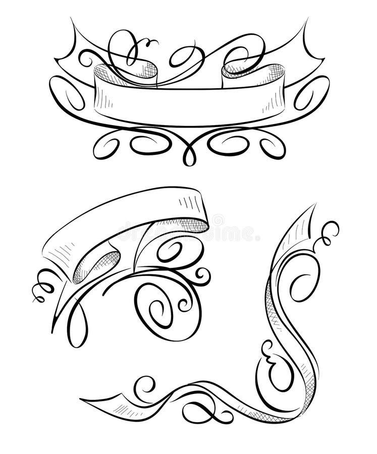 套设计元素-与卷毛的丝带 库存例证