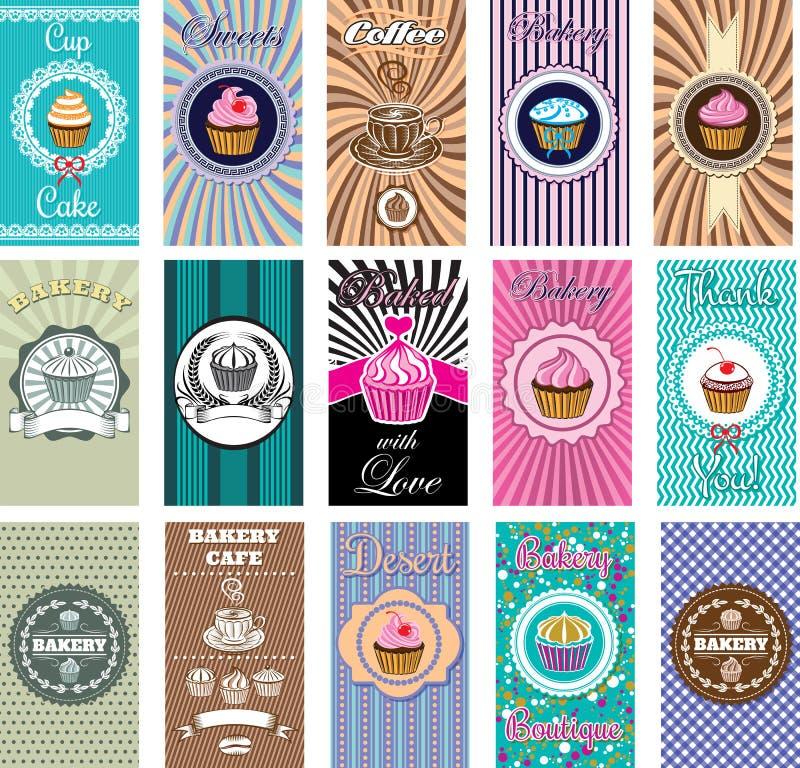 套设计烘烤和面包店的elemnt象 免版税库存图片