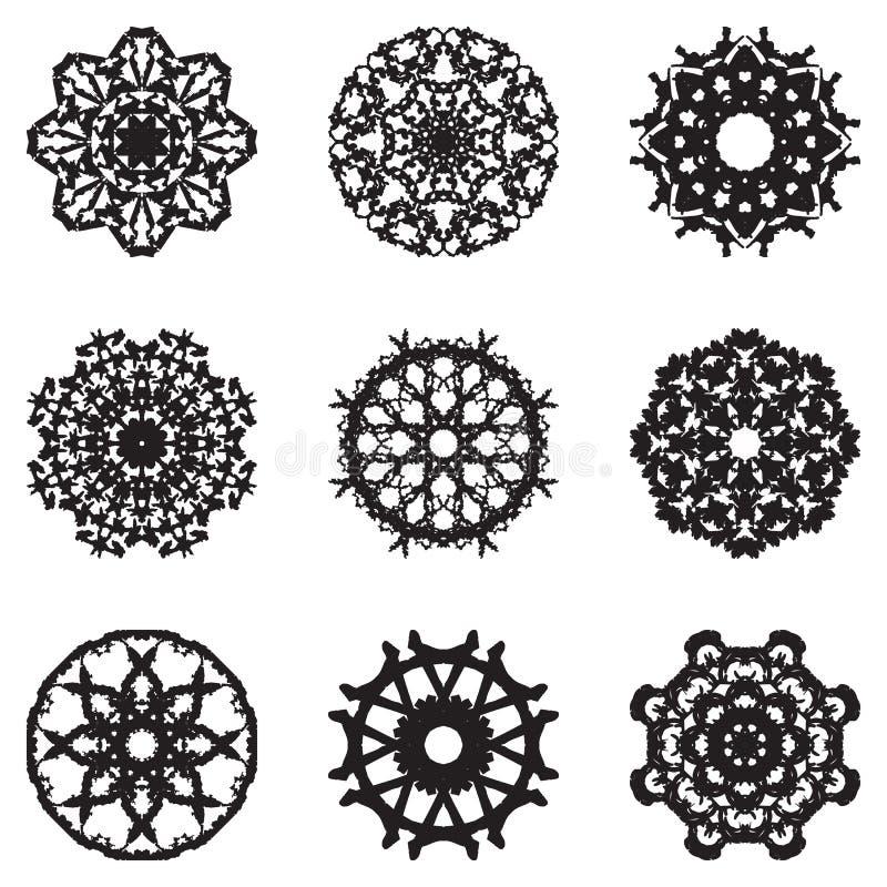 套设计的九个手凹道元素 向量例证