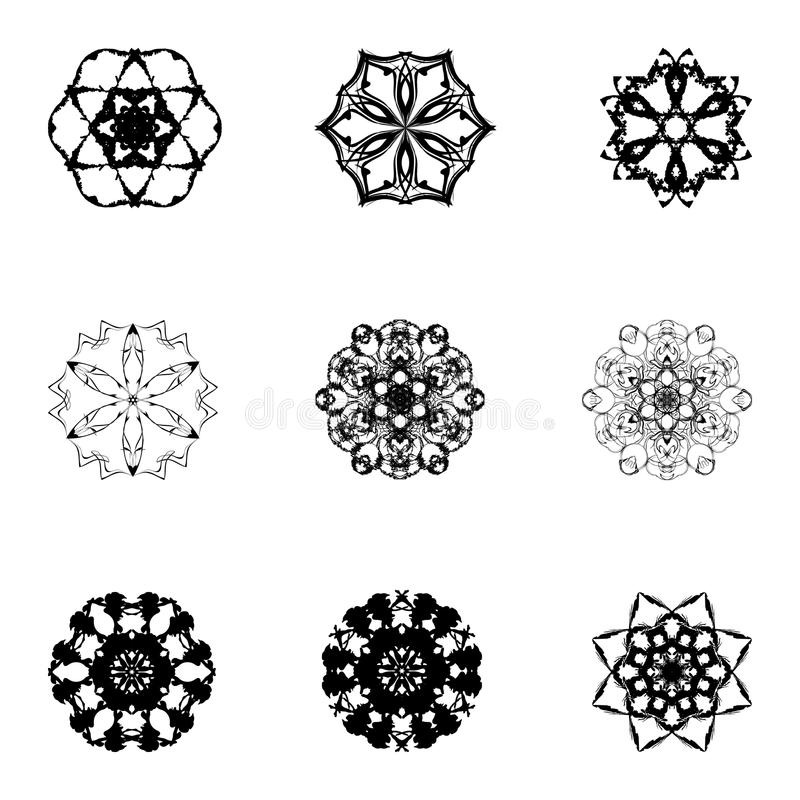 套设计的九个手凹道元素 库存例证