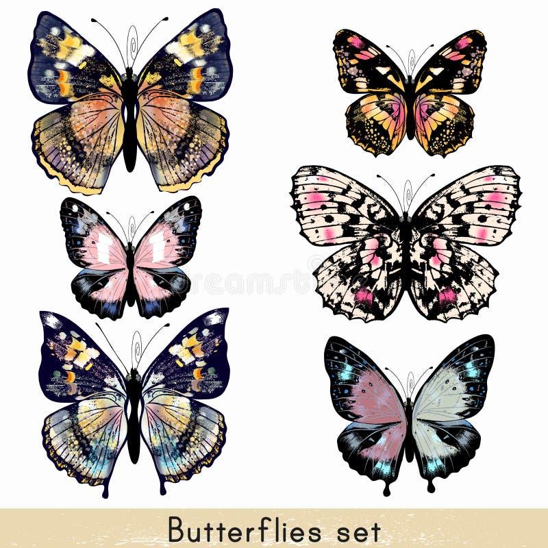 套设计的传染媒介现实五颜六色的蝴蝶 库存例证