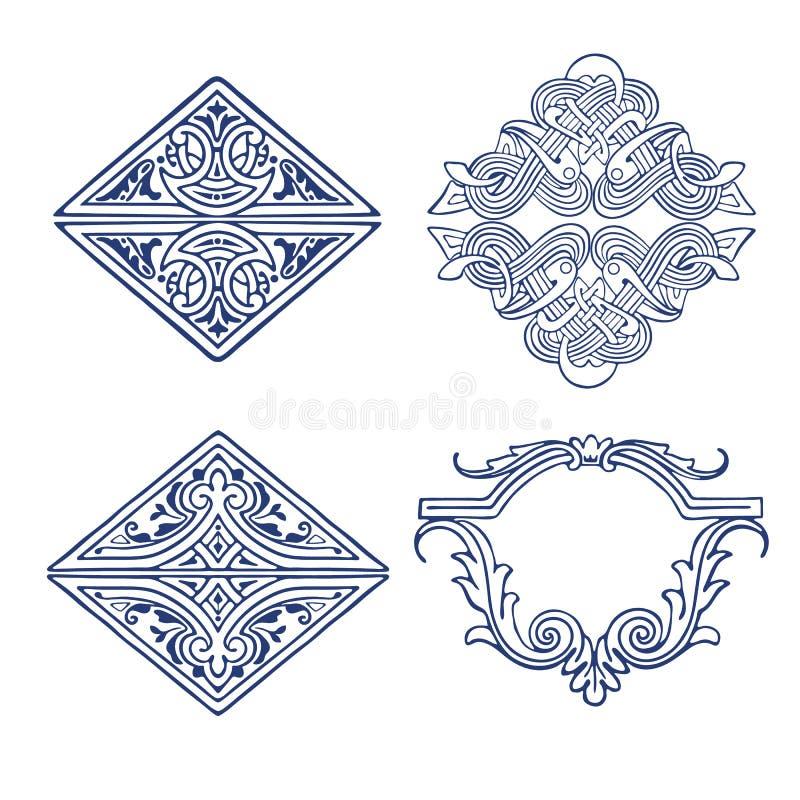 套设计的装饰元素在葡萄酒窗框 库存例证