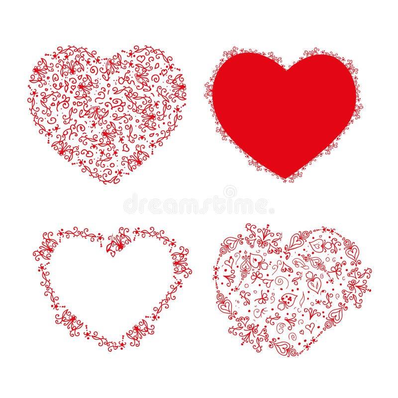 套设计的钢板蜡纸心脏 向量例证