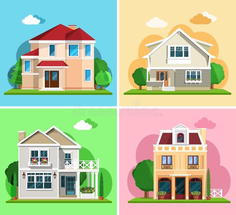套详细的五颜六色的村庄房子 平的样式现代大厦 皇族释放例证