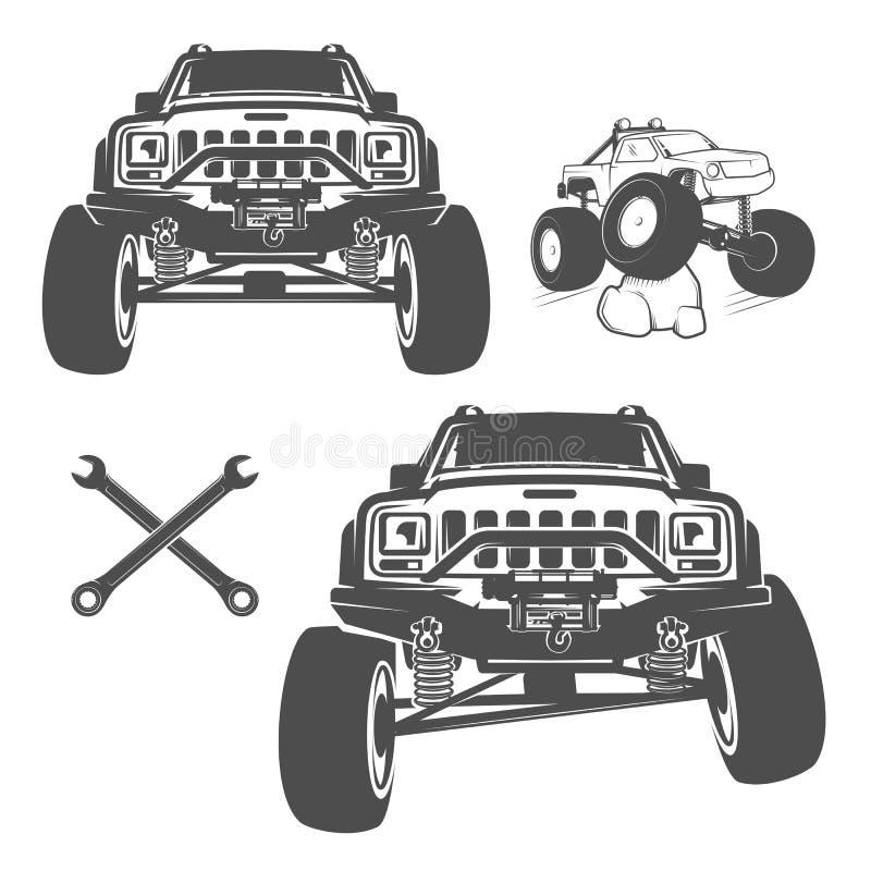 套象征、商标、设计和印刷品的路汽车 库存例证