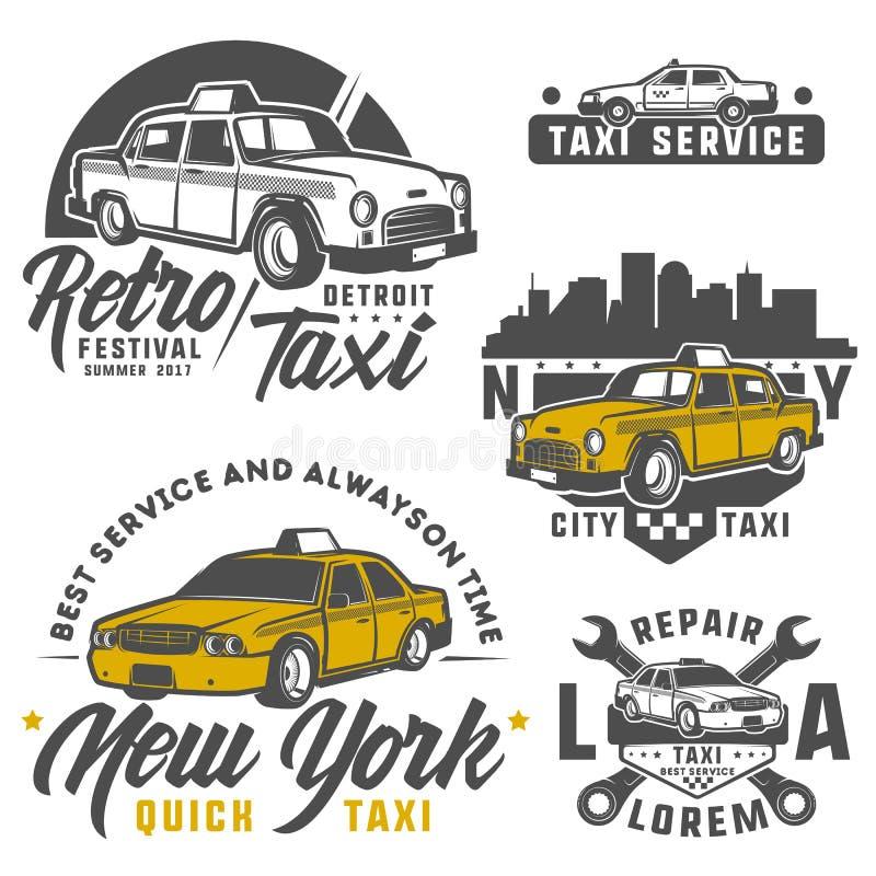 套象征、商标和设计的出租汽车汽车 皇族释放例证