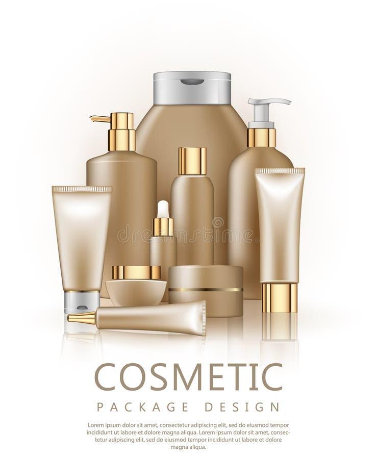 套豪华化妆产品的现实包裹 塑胶容器空的空白的模板的汇集有金盖帽的 库存例证