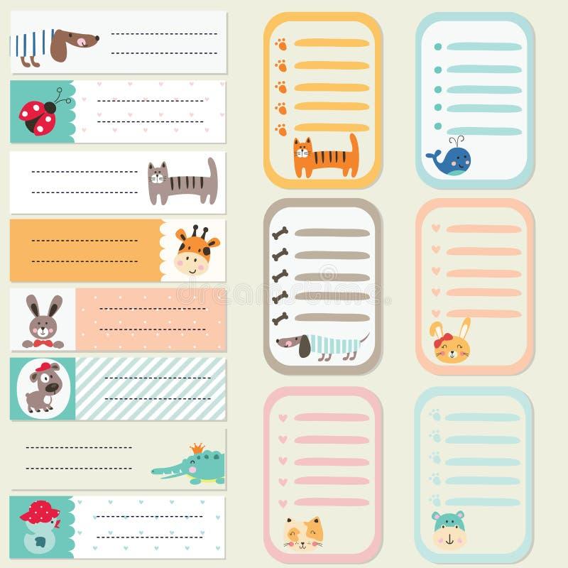 套贴纸和卡片与逗人喜爱的动物 向量例证