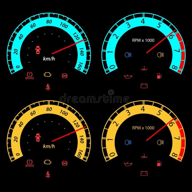 套赛跑的设计的汽车车速表。 库存例证