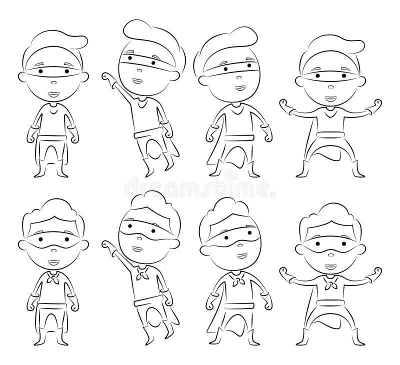 套超级英雄在另外姿势的漫画人物概述 向量例证