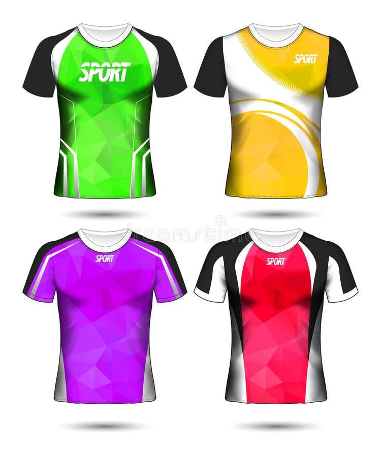 套足球体育T恤杉布局设计多模板和马球 向量例证