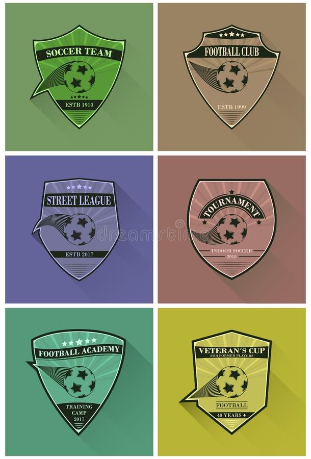套足球商标 在平的样式的橄榄球略写法与长的阴影 向量例证