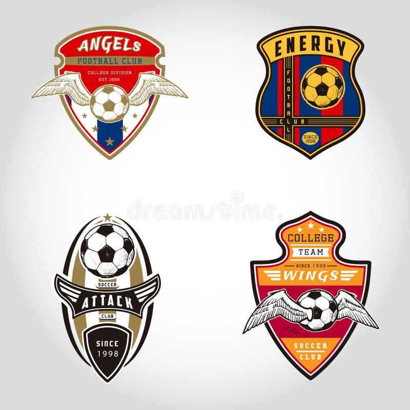 套足球徽章商标 向量例证