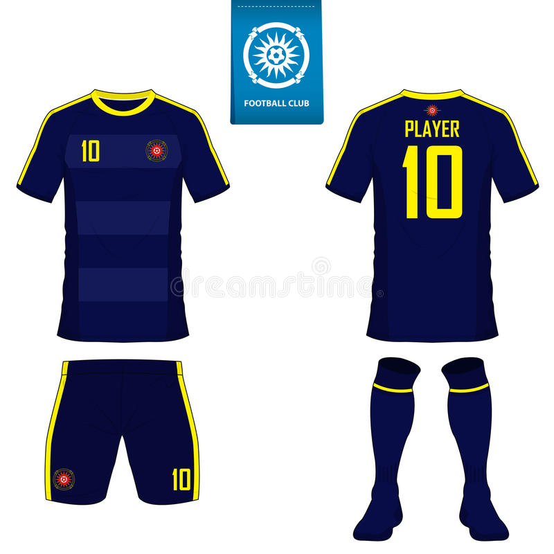 套足球成套工具或橄榄球橄榄球俱乐部的球衣模板 在蓝色标签的平的橄榄球商标 前面和后面看法足球unif 皇族释放例证