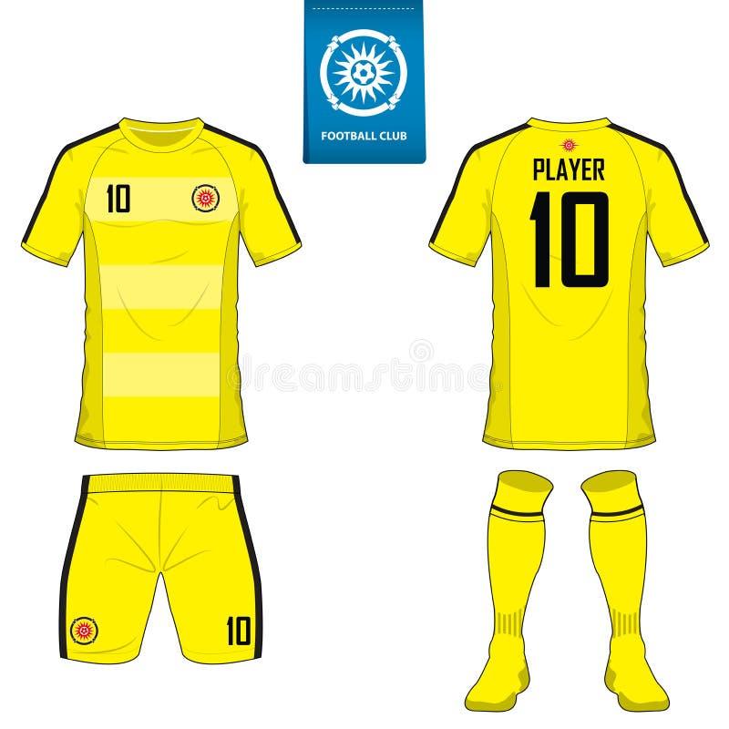 套足球成套工具或橄榄球橄榄球俱乐部的球衣模板 在蓝色标签的平的橄榄球商标 前面和后面看法足球unif 库存例证