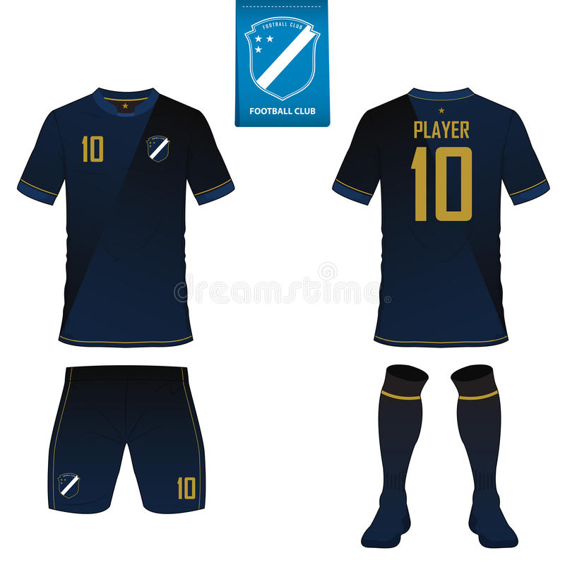 套足球成套工具或橄榄球球衣模板 平的橄榄球商标 前面和后面看法足球制服 向量 库存例证