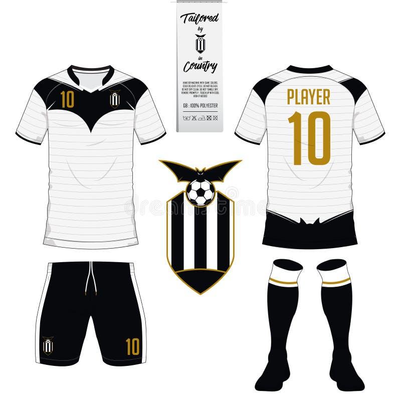 套足球成套工具或橄榄球球衣模板 平的橄榄球商标 皇族释放例证